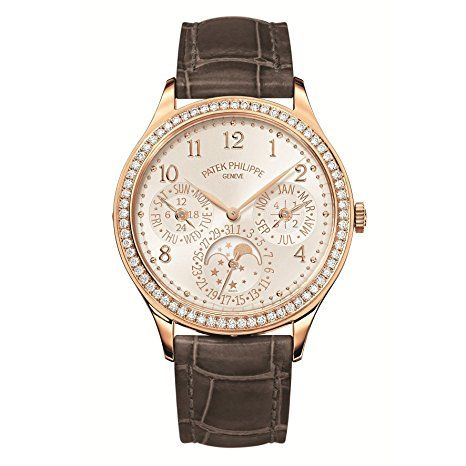 Patek Philippe Ladies Grand Complications 35mm Rose Gold Watch with Diamond Bezel 7140R-001 - Ultra-thin mechanical self-winding movement Caliber 240 Q Perpetual calendar Day, date, month, leap year and 24-hour indication by hands Moon phases Bezel set with 68 diamonds (~0.68 ct) White opaline dial, gold applied hour markers Straps: shiny alligator with square scales, hand-stitched, mink gray (originally fitted) and royal purple (additional strap) (affiliate link)
