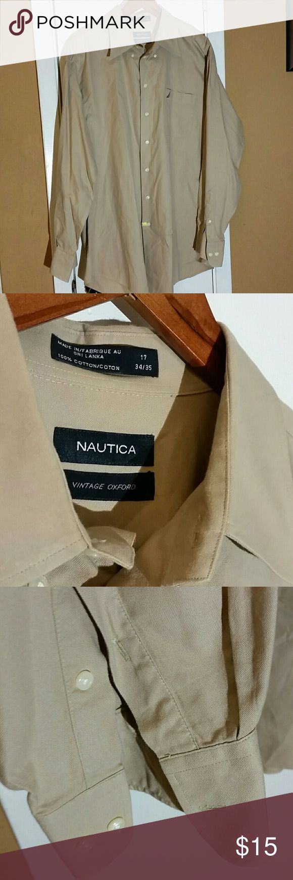 Men's Nautica Button down BEIGE Men's button down. Excellent condition. Says it's 17 neck and 34/35 Nautica Shirts Dress Shirts
