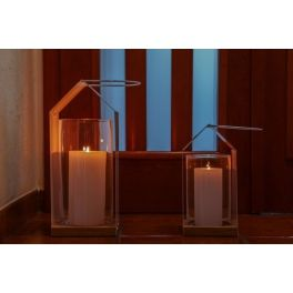 Lantern with glass cylinder in Scandinavian style. Perfect to lighten and decorate the interior of the house, terrace and garden.