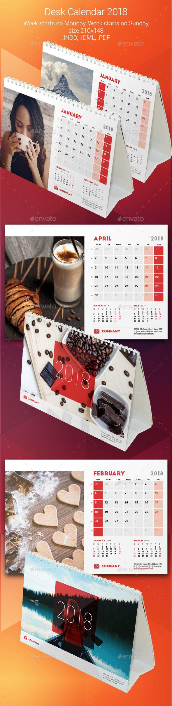 #corporate #Desk #Calendar #template #2018 - #business #Calendars #Stationery #design. download here: https://graphicriver.net/item/desk-calendar-2018/20214077?ref=yinkira