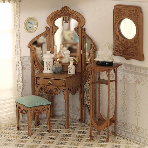 Art Nouveau dressing table and stool with padded by MINIATURAFR