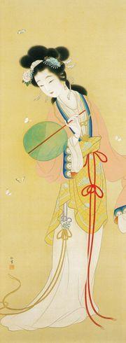 上村松園 楚蓮香之図 1924年 上村松園 (Uemura Shoen, 1875-1949) 出生於京都. 早年作畫生涯為她贏下不少獎項, 是活躍於1880年代的新晉女畫家. 她的作品多圍繞京都庶民生活的情景, 並從日本古典文學中汲取靈感。