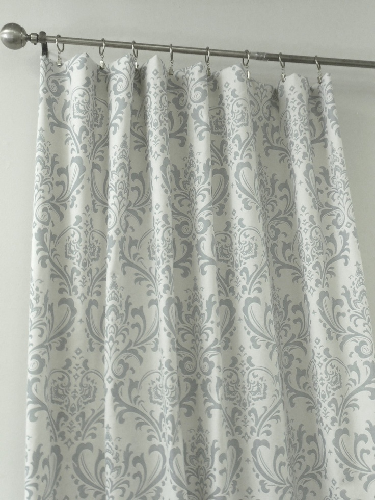 grey damask curtains - for redoing the bedroom with grey walls and poppy and grey quilt
