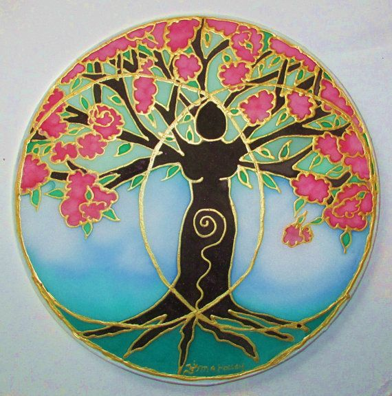 "The ""Tree of Creativity"" was created in honor of the blooming of the Divine Feminine energy with in all of us. Her roots firmly in the ground reaching her arms to the Universe and the beauty that is created when connected to both! Embedded in the art work is the Sacred Geometry Vesica Pisces which symbolizes the joining of the Goddess and the God energy to create."