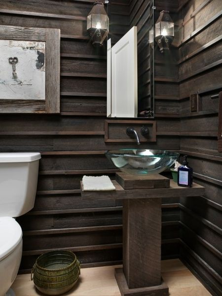 Natural Wood Interiors :: Bathroom, Dark Wood Siding / Wall, Wood Pedestal Vanity, Glass Bowl Sink, Light Wood Floor, Salvaged Yellow Pine with Ebony Stain, Satin Black Finish Faucet, Rustic  River House by Andrew Melaragno, AIBD