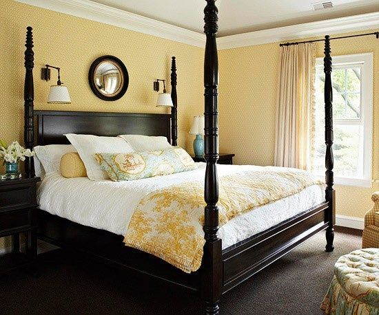 Yellow would look good with our dark wood bedroom furniture