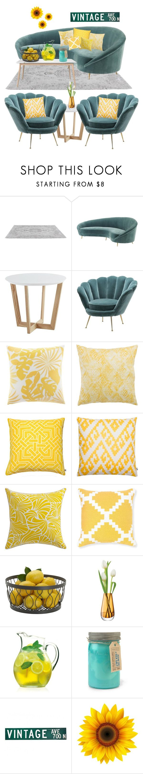 """""""Teal and Yellow"""" by puppykittybunnyluv ❤ liked on Polyvore featuring interior, interiors, interior design, home, home decor, interior decorating, Eichholtz, Tommy Bahama, Jaipur and Nina Kullberg"""