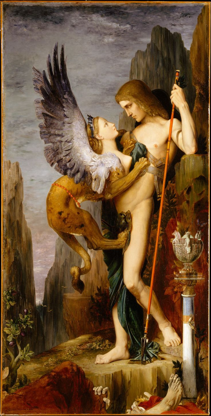 Moreau, at mid-career, made his mark with this painting at the Salon of 1864. It represents the Greek hero Oedipus confronting the Sphinx outside Thebes: he must solve her riddle to save his life and those of the besieged Thebans