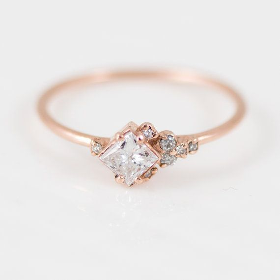 In the Sky with Diamonds Ring // Princess cut diamond ring with asymmetrical side diamonds in 14k Gold / Delicate diamond engagement ring