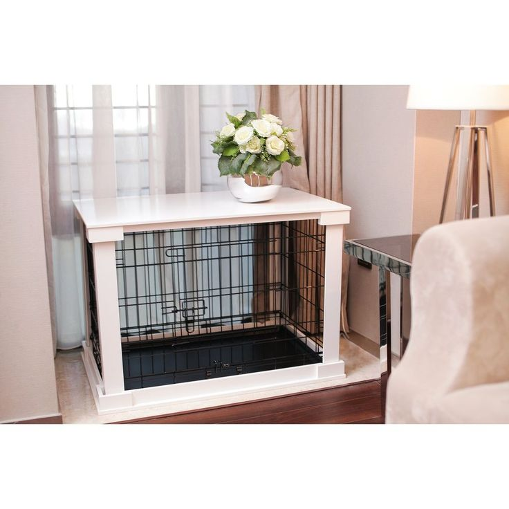Large Indoor Dog Kennel Cage Crate Wood White End Table with Cover