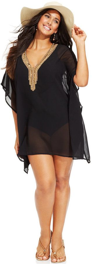 Plus Size Sheer Beaded-Neck Tunic Cover Up