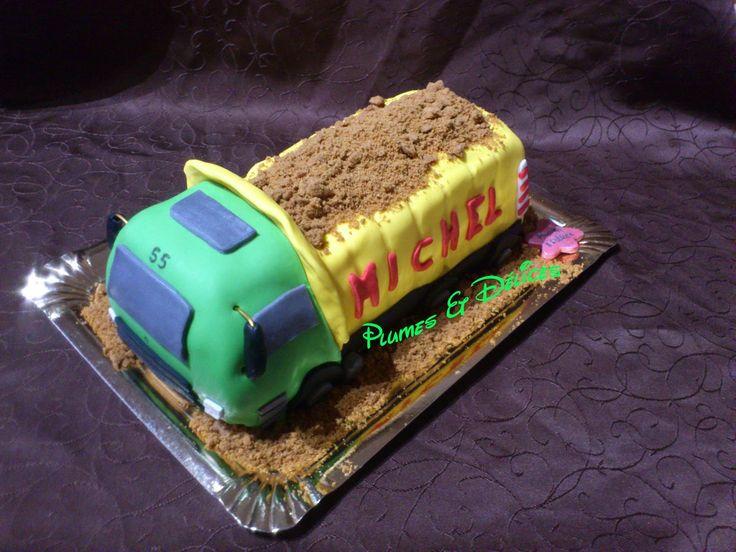 Plumes & Délices: gâteau camion benne / dump truck cake