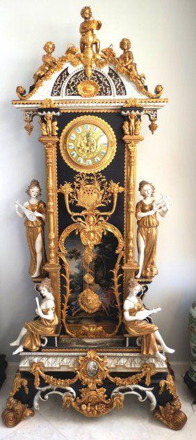 Porcelain & Bronze Clock Spectacular H: 6'