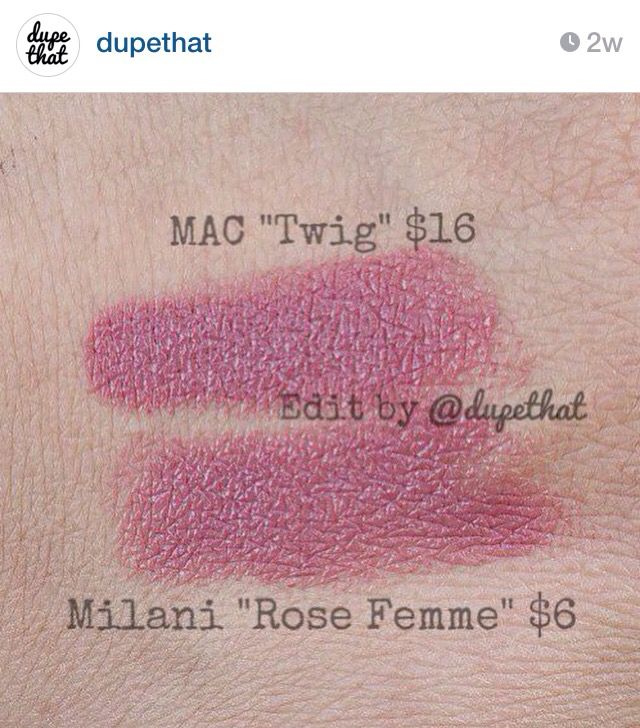 """Dupe for Mac Twig = Milani Rose Femme, from """"dupethat"""" on ...  Dupe for Mac Tw..."""