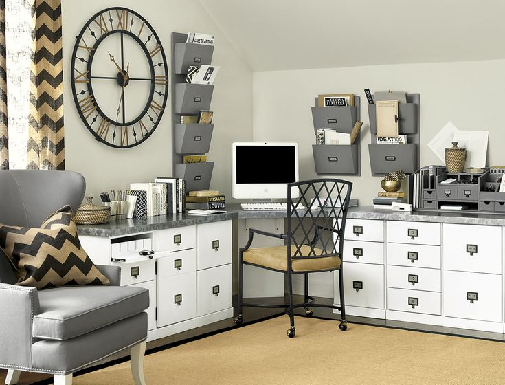 Our Original Home Office collection creates a hardworking workspace in this room, with plenty of storage for papers and supplies