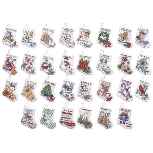 Bucilla Tiny Stocking Ornaments Counted Cross Stitch Kit