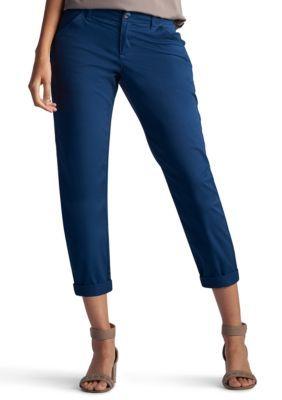 Lee Platinum Admiral Blue Petite Size Essential Chino Capri Pants
