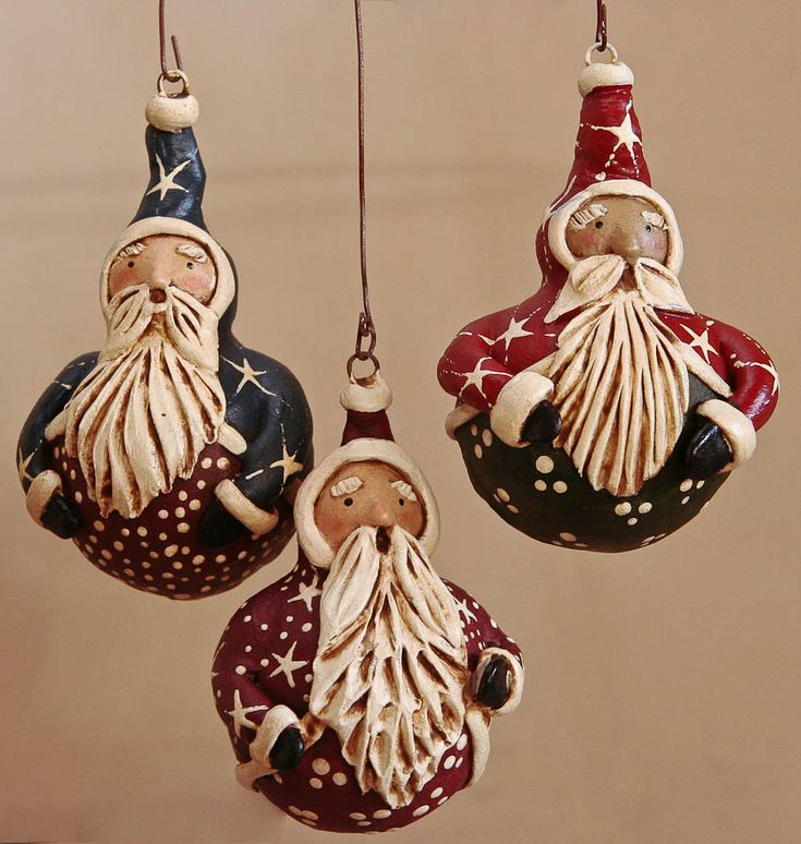 Santa Ornaments I have done similar on Tennessee Spinner gourds(Christine J. Pace)!