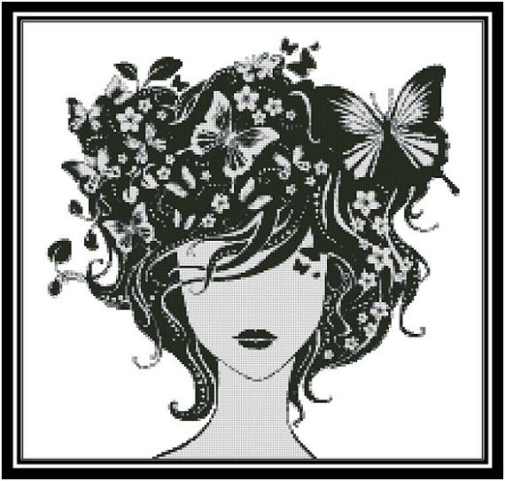 Butterfly Hair PDF Cross Stitch Chart by EmbellishedDelights, $12.00