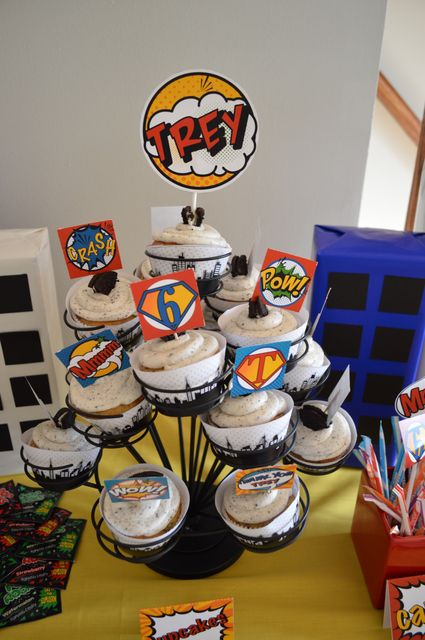 Cupcake tree at a Super Hero Party #superhero #party