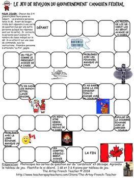 LE JEU DE RéVISION DU GOUVERNEMENT CANADIEN FéDéRAL - FRENCH CANADIAN GOVERNMENT - TeachersPayTeachers.com