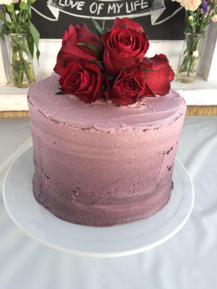 Purple ombré engagement cake