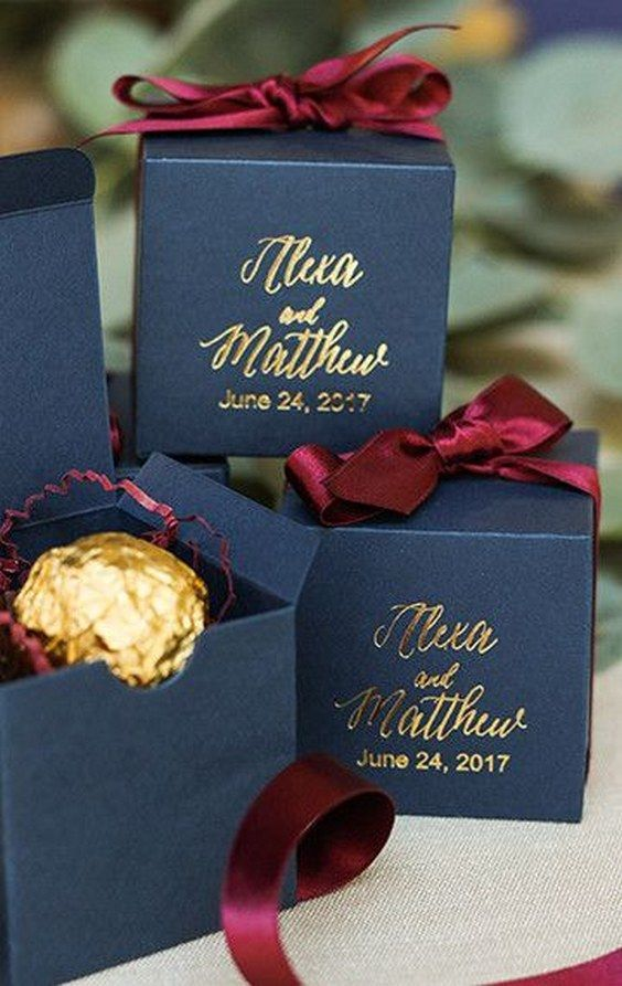 navy and burgundy wedding favor box / http://www.deerpearlflowers.com/burgundy-and-navy-wedding-color-ideas/2/