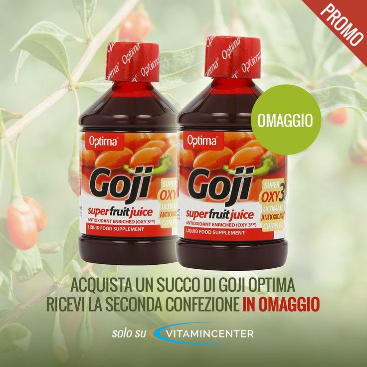 C'è una nuova #dissetante promozione* su #VitaminCenter! Acquistando un succo di #Goji #OPTIMA 500 ml, riceverai una seconda confezione IN OMAGGIO! Approfittane ora!  *Promozione valida fino ad esaurimento scorte dell'omaggio.