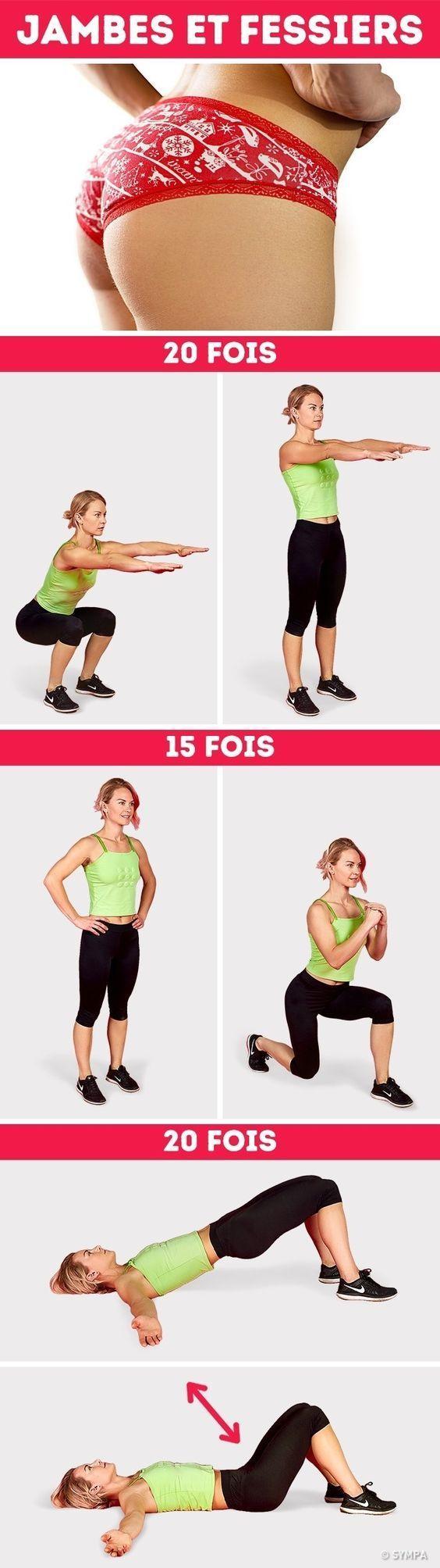 recommencer cette série d'exercices 3 à 4 fois avec 15' sec de récupération entre les différents mouvements. A faire 3 fois par semaine... Bon courage