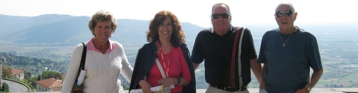 Private walking tour of Cortona with nice US couples at the Piazza Garibaldi panoramic terrace