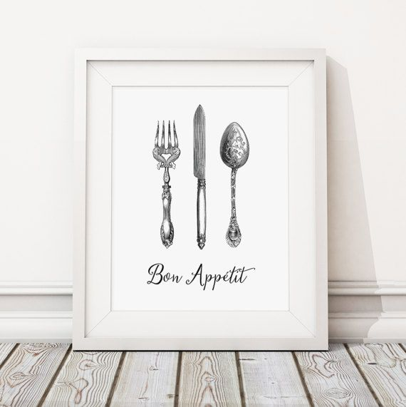 BON APPETIT Print - a digital file for you to print yourself or at a print shop/online printer (if you want to buy this item as a physical print on paper instead, here's the listing: https://www.etsy.com/uk/listing/505431883 )  Give your kitchen a bit of class with this fantastic Victorian cutlery! A fun retro print that makes todays knives forks and spoons look really boring....  Instant download prints are a great and easy way to save money and time waiting fo...