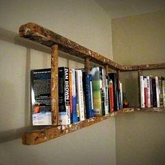 Using an antique ladder!
