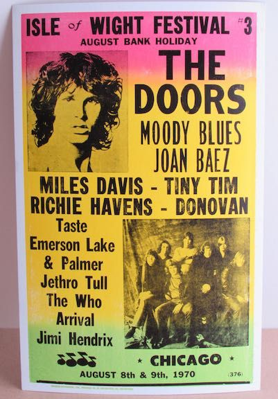 The Isle of Wight Festival 1970 was held between 26 and 31 August 1970 at Afton Down, an area on the western side of the Isle of Wight. It was the last of three consecutive music festivals to take place on the island between 1968 and 1970 and widely acknowledged as the largest musical event of its time, greater than the attendance of Woodstock.