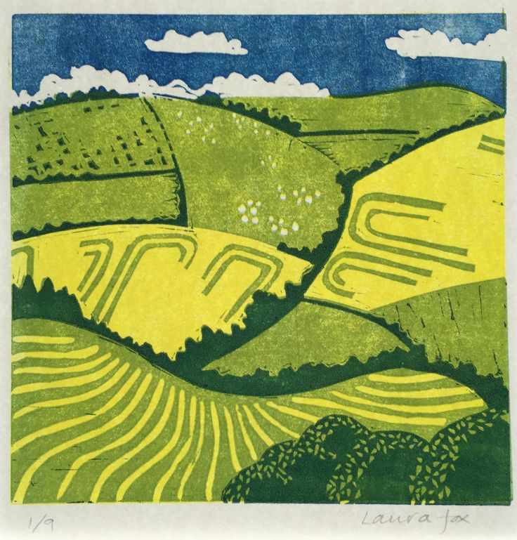 May Fields: Reduction lino cut