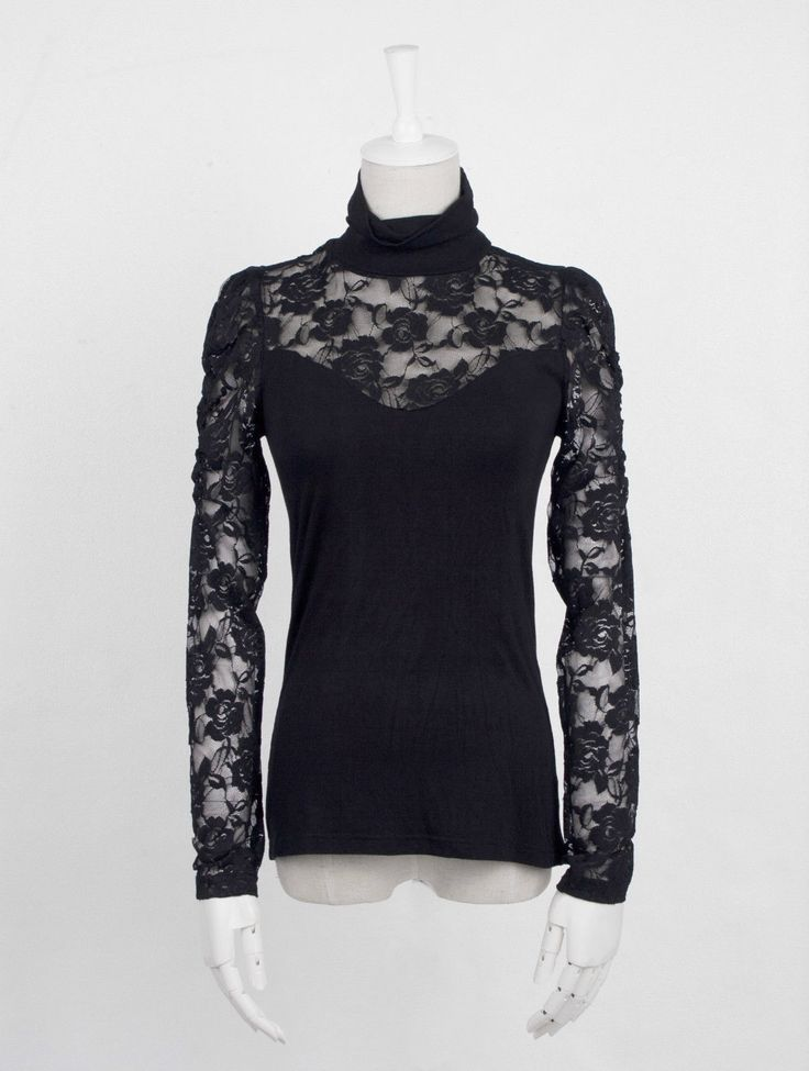 Goth Punk Rave Shirt Black Lace Backless Stretch Roll Neck Lace Black | eBay