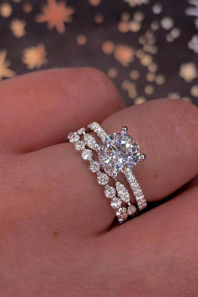 Blue Diamond Engagement Ring White Gold Ring Rose Engagement Ring