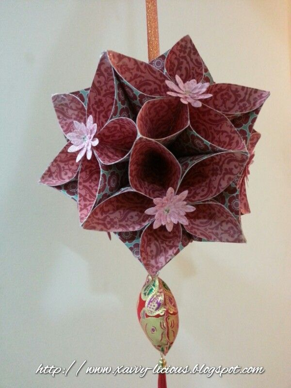 Make your own Chinese New Year Deco ! A lantern made out of Squares using Teresa Coliin's Spring Fling Pattern Paper.
