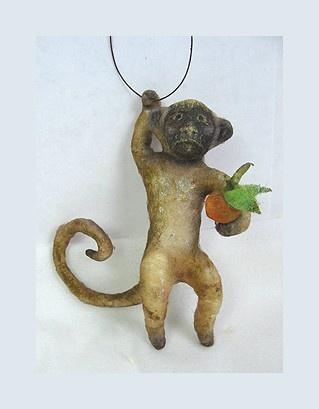 Antique Style Folk Art Spun Cotton Monkey Ornament