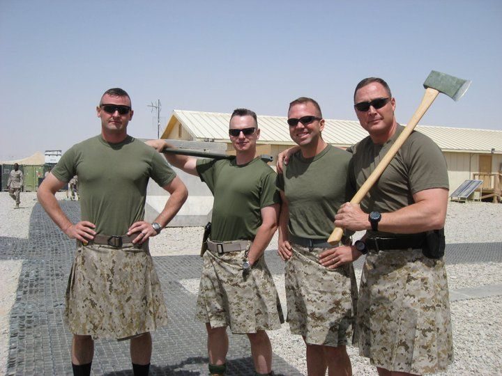 US marines in kilts, just saying NOT a skirt, also I love this, this is awesome, men are irresistible to me when they wear kilts!!!