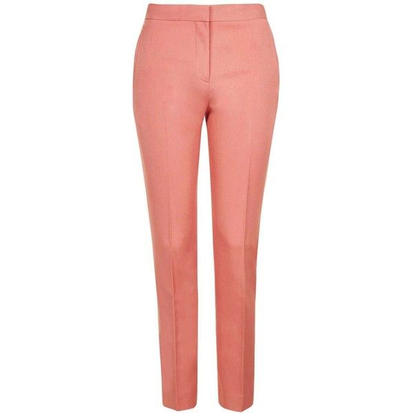 TopShop Premium Suit Trouser (88 CAD) ❤ liked on Polyvore featuring pants, high waisted cigarette trousers, high rise pants, tailored dress pants, high-waisted trousers and slacks pants