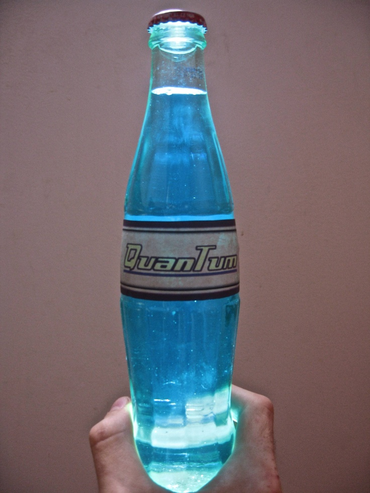 Make a Nuka Cola Quantum label. Stick it on a glass Coke bottle. Use it to store your mouthwash.