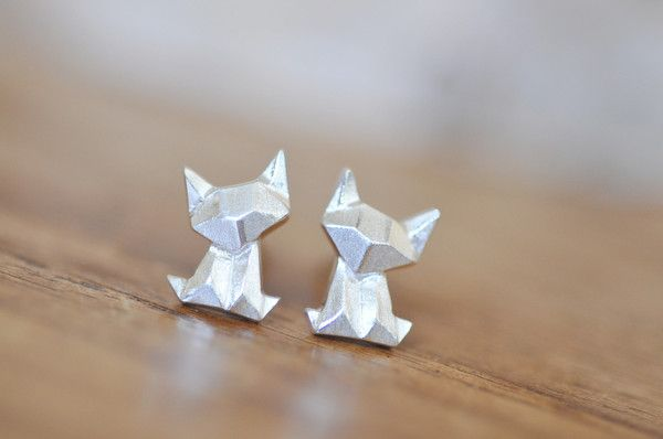 Origami Cat Earrings $20