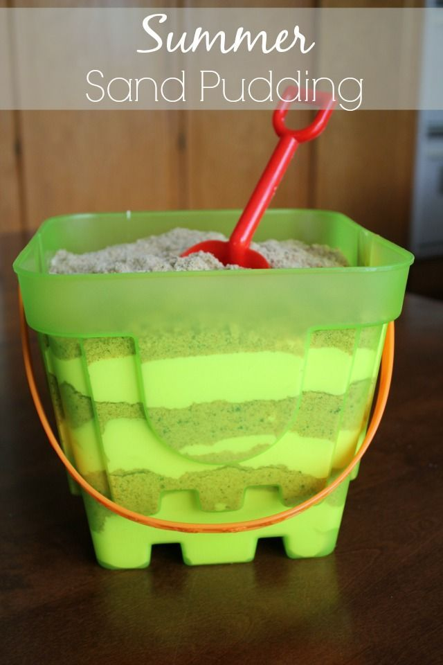 """Summer Sand Pudding - this looks really cute! I have done the oreo version as """"Dirt Cake"""" the sand look in the bucket is adorable and good for those non-chocolate folks."""