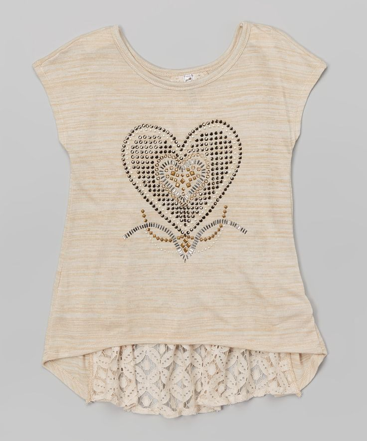Look at this Oatmeal Heart Lace Hi-Low Top on #zulily today!