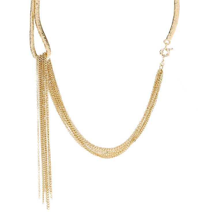 Collar meets fringes with this trendy gold toned necklace. The textured gold collar which is united to delicate chain fringes gives this piece a flowy yet stylish appeal. Easy to wear with almost any outfit, this collar necklace is an elegant statement piece that deserves to be shown off.