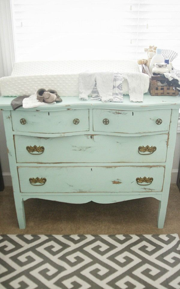 love this color and idea of making a dresser you like into a changing table