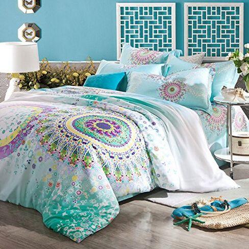 comprar textiles para el hogar camas boho azul extico juego