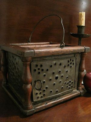 Antique 1700s Colonial Wooden Foot Warmer Punched decorated tin with Original Embers Box Sold North Bayshore Antiques