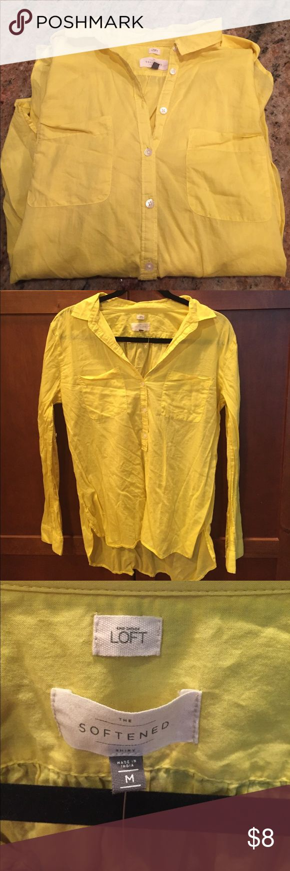 Yellow Long sleeve wrinkled softened shirt Soft and full of summer color. LOFT Tops Blouses