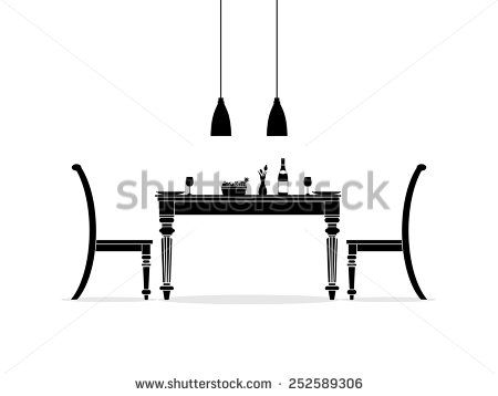 Dining room interior silhouette